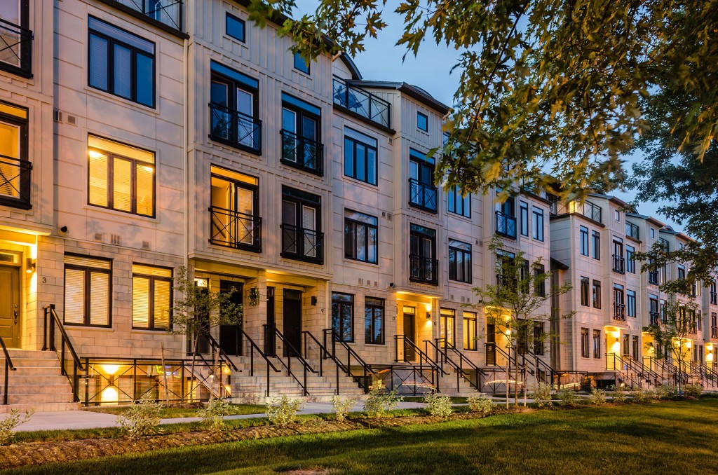 Multi-Unit Wood Design Award Winner - Woodland Village Stacked Townhomes, London, ON; Architect: Orchard Design Studio Inc. and GB Architect Inc.; Engineer: Strik Baldinelli & Associates Ltd. (CNW Group/Ontario Wood WORKS!)